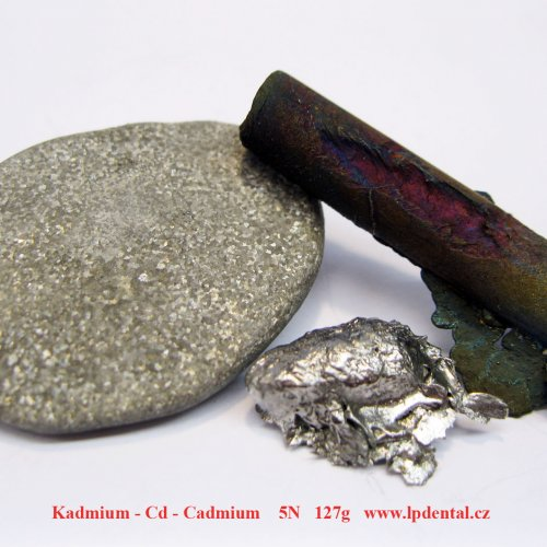 Kadmium - Cd - Cadmium metal pelet etched sufrace/Rod with oxid sufrace/Metal piece-glossy sufrace