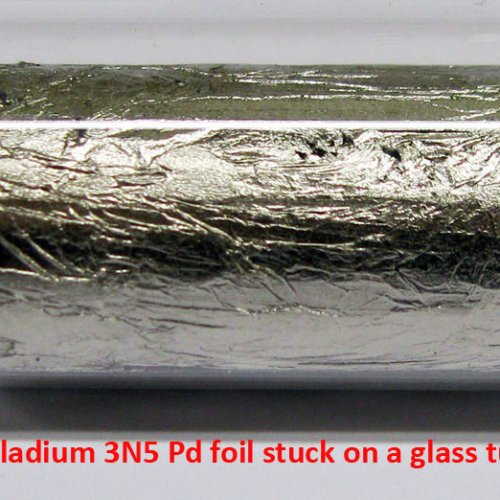 Palladium - Pd - Palladium 3N5 Pd foil stuck on a glass tube. 3.jpg