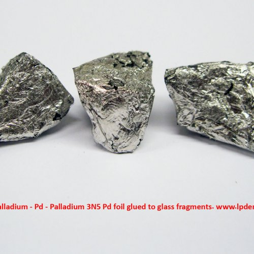 Palladium - Pd - Palladium 3N5 Pd foil glued to glass fragments. 2.jpg