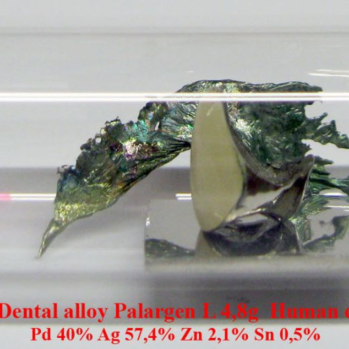 Palladium-Pd-Palladium Dental alloy Palargen L 4,8g Human dentistry Pd 40% Ag 57,4% Zn 2,1% Sn 0,5%