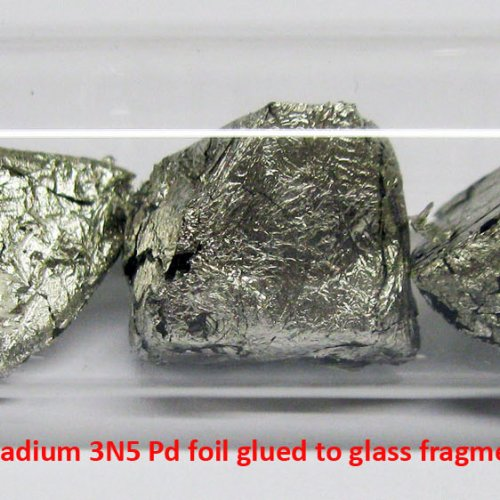 Palladium - Pd - Palladium 3N5 Pd foil glued to glass fragments. 3.jpg