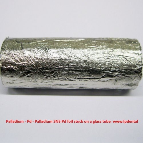 Palladium - Pd - Palladium 3N5 Pd foil stuck on a glass tube..jpg