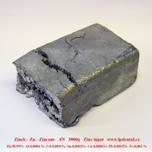Zinek - Zn - Zincum Zinc  Metal Bar Blocks Ingots Sample