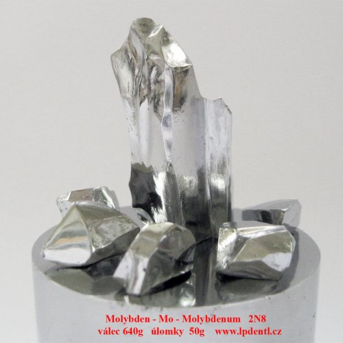 Molybdenum  Metal crystalline lumps. Machined pieces.Sample-glossy surface.Mo cyllinder Rod