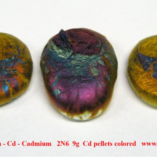 Kadmium - Cd - Cadmium 2N6 9g Cd pellets colored.png