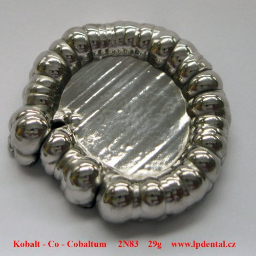 Kobalt - Co - Cobaltum  Pure cobaltum button, obtained by electrolysis, about 29 grams