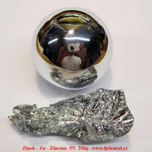 Zinek- Zn -Zincum Zinc Ball-very glossy sufrace/crystalline fragmens of zincum.