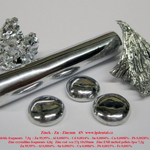 Zinek - Zn - Zincum Zinc crystalline-dendritic fragments-rod-pellets.jpg